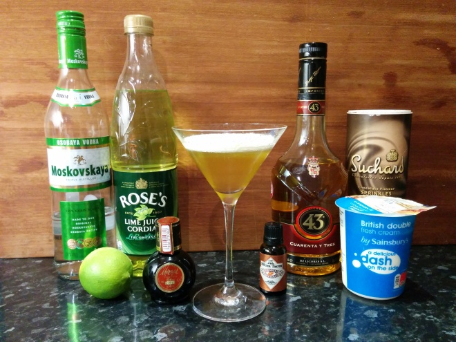 A Key Lime Pie cocktail and the ingredients to make one