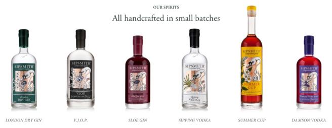 Product Range Sipsmith Distillery on TASTE Cocktails