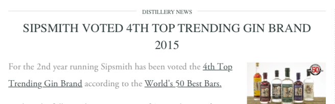 Sipsmith News Top Trending on TASTE Cocktails