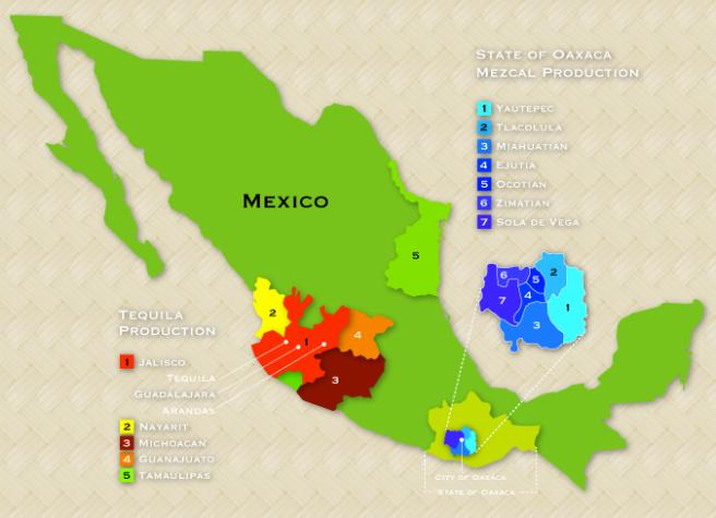 Mezcal Production areas